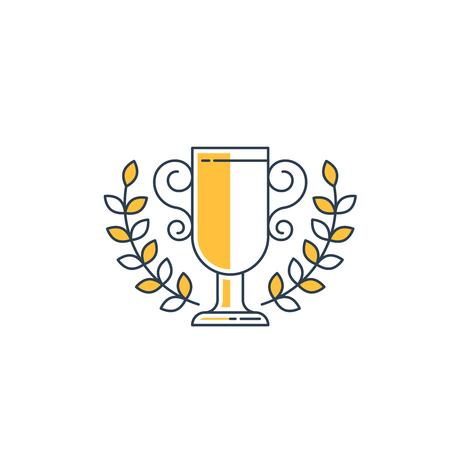 distinction: Champion cup with a laurel wreath. Distinction mark. Winner award. Illustration