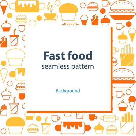 french fancy: Fast food seamless pattern