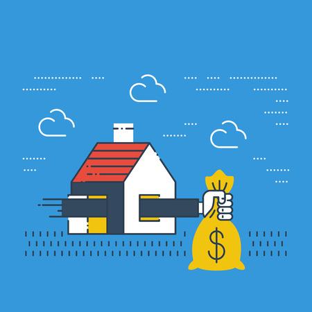 Assurance vol. les frais de logement. subvention hypothécaire. Les paiements de loyers. Banque d'images - 49711761