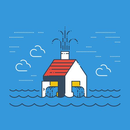 disaster prevention: Pipe break, poor plumbing, flooding. Insurance service concept.