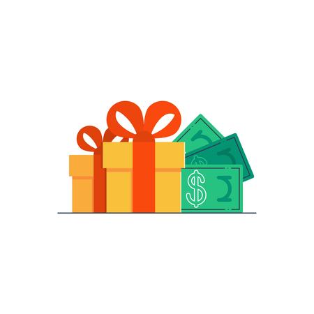 surprise gift: Gift certificate, bonus money Illustration