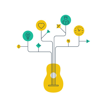 songwriter: Music school or courses concept. Guitar tutor. Illustration