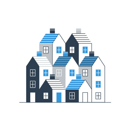 borough: Group of houses. Real estate. Mortgage rate. Building development. Illustration