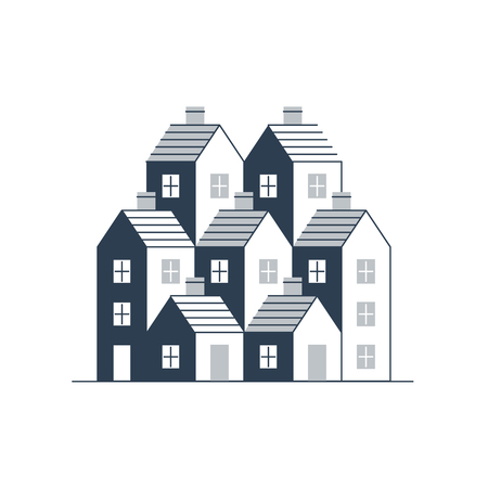 detached house: Group of houses. Real estate. Mortgage rate. Building development. Illustration