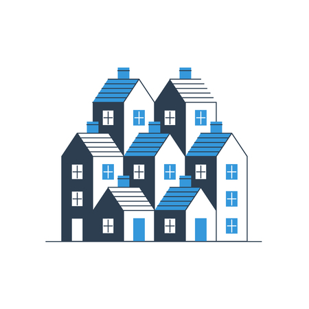 mortgage: Group of houses. Real estate. Mortgage rate. Building development. Illustration