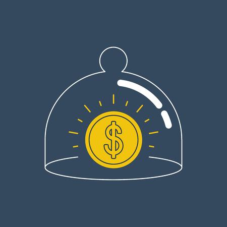cherish: Finance insurance concept. Bank vault. Illustration