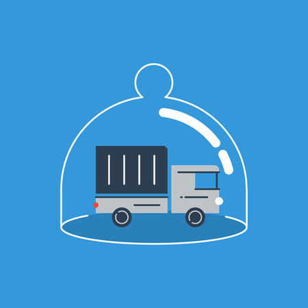 transport truck: Cargo insurance concept. Safety measures.