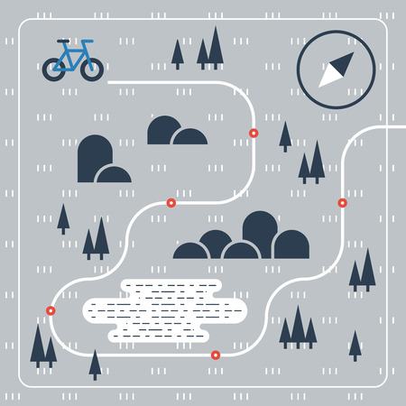 crosscountry: Cross country bicycle map Illustration