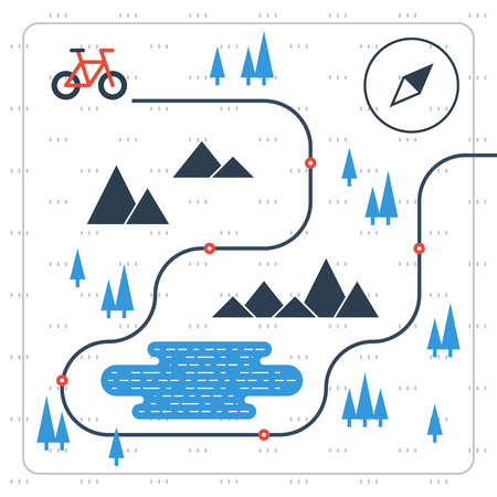 hiking path: Cross country bicycle map Illustration