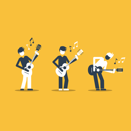rehearsal: Music band Bright attractive illustration for a cover or poster.