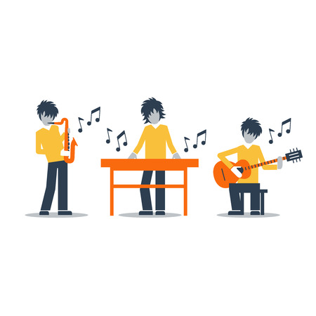rehearsal: Jazz band performance. Bright attractive illustration for a cover or poster. Illustration