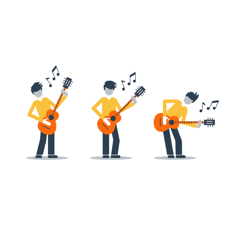 rock singer: Music band Bright attractive illustration for a cover or poster.