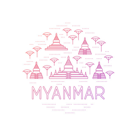 A round collage of Bagan sights. Myanmar travel template. Thin line icons of pagodas.