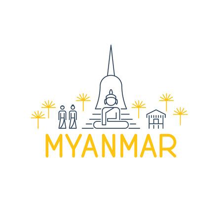 stupa: A skyline of sights in Myanmar beneath Illustration