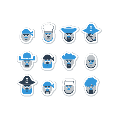 cocked hat: Pirate head set. Can be used as icons or face masks. Illustration