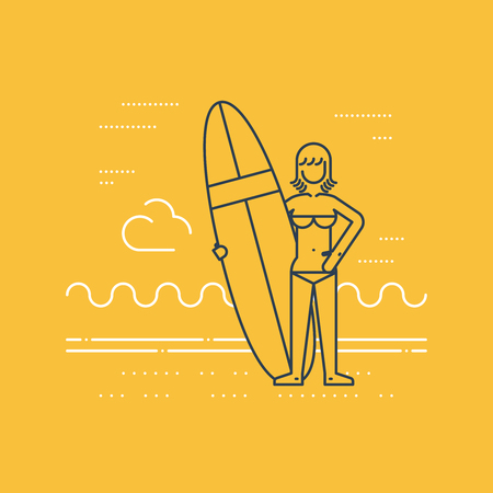 teenagers having fun: Summer vacation. Surfing camp. Surfing woman instructor