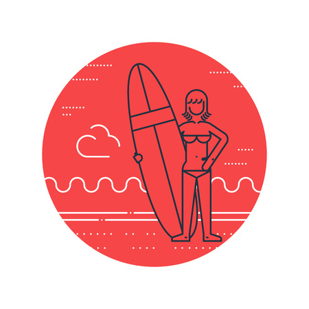 teenagers having fun: Summer vacation. Surfing camp. Surfing woman instructor.