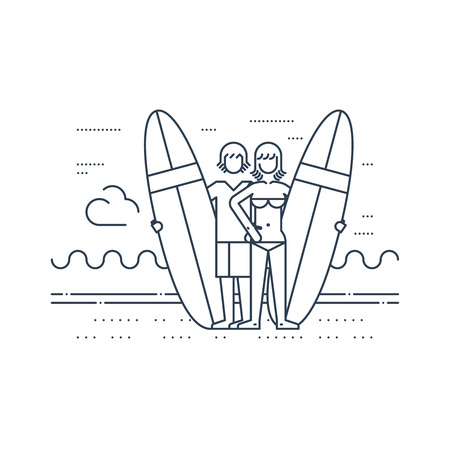 couple having fun: A couple of surfers on the beach. Summer vacation. Surfing camp. Illustration