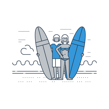 teenagers having fun: A couple of surfers on the beach. Summer vacation. Surfing camp. Illustration
