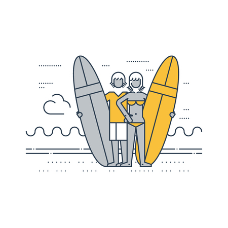 beach side: A couple of surfers on the beach. Summer vacation. Surfing camp. Illustration