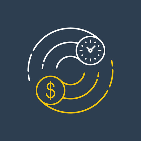 currency symbols: Time is money concept. Internship, savings account, future investments. Illustration