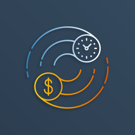 savings account: Time is money concept. Internship, savings account, future investments. Illustration