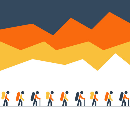 hike: A group of people on a hike or expedition Illustration