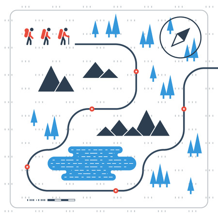 orienteering: Hiking team. Sport orienteering in cross country.