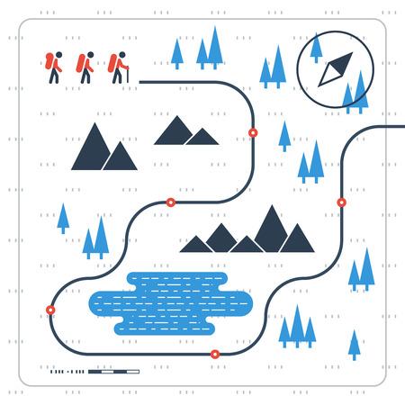 sporting event: Hiking team. Sport orienteering in cross country.