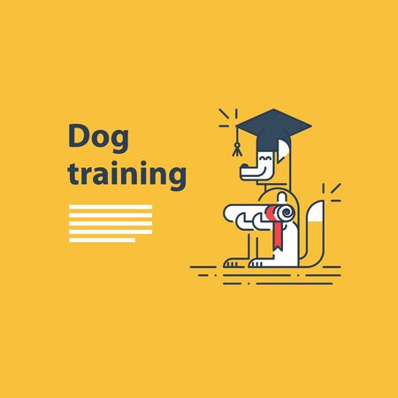 canine: Can be used as a representation of any courses or university studies, and literally for dog training service. A certificate or invitation. Illustration
