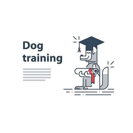 qualify: Can be used as a representation of any courses or university studies, and literally for dog training service. A certificate or invitation. Illustration