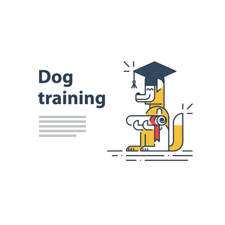 literally: Can be used as a representation of any courses or university studies, and literally for dog training service. A certificate or invitation. Illustration