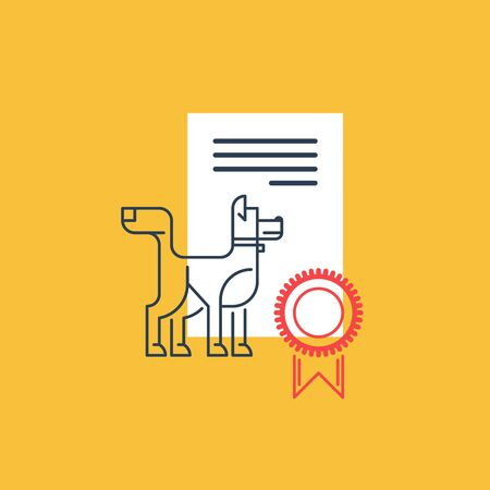 distinction: A mark of distinction. Dog competition award. Breeding quality mark. Illustration