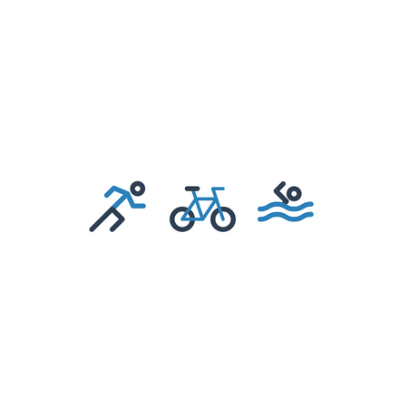 Triathlon icon set 矢量图像