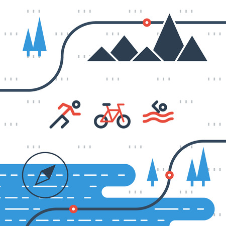 pictogram people: Triathlon icons, outdoor activities