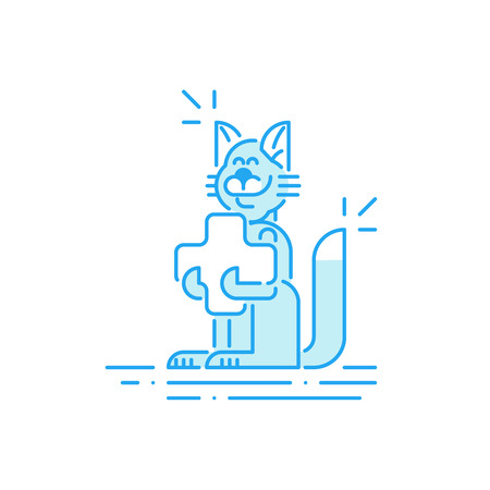 smiling cat: Vet clinic. Pet health insurance. A happy smiling cat with a cross in paws. Illustration