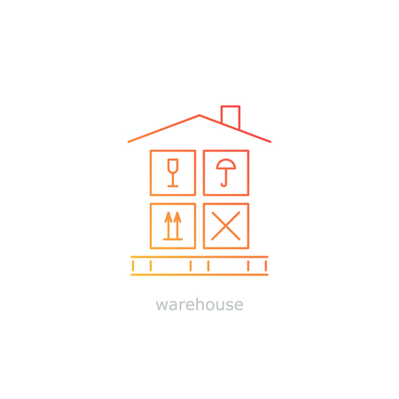 leasing: Warehouse sign. Leasing of premises for storage. Cargo handling with care. Package insurance concept. Thin lines, flat design.