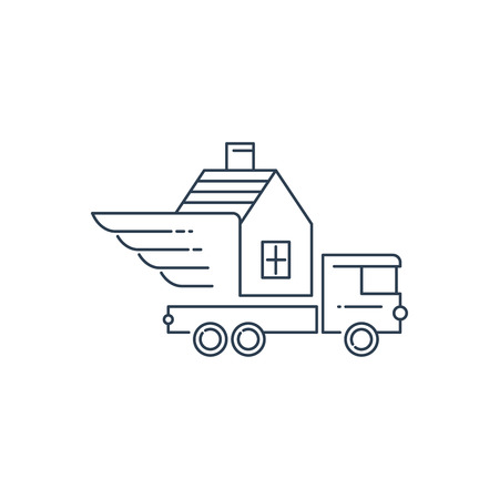 relocation: Move house service. Relocation property, Illustration