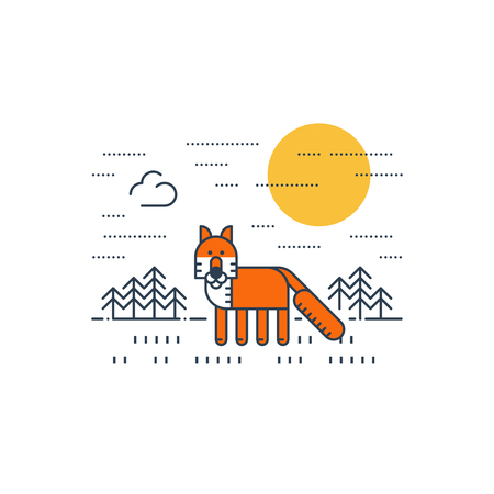 wildlife: Wildlife. National park. A fox Illustration