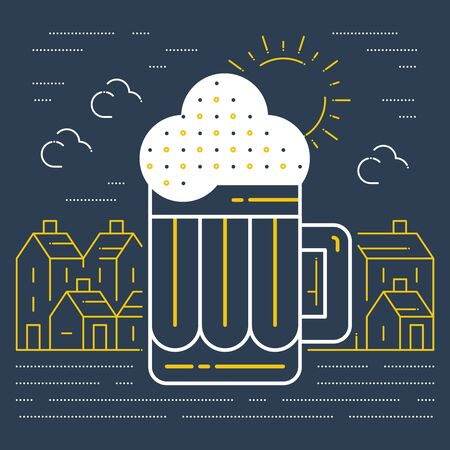 and draft beer: A mug of beer and a country town in the background. Brewery traditions. Pud poster. Draft beer. Illustration