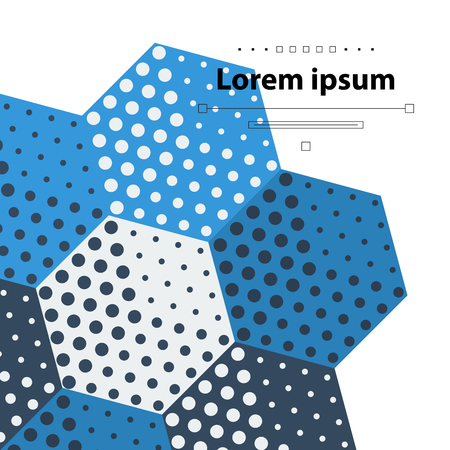 mottled background: Template with blue hexagons and dots Illustration
