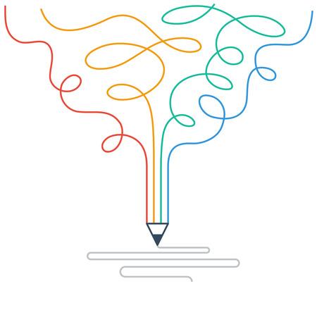 창작. 스토리 텔링. 그래픽 디자인 스튜디오의 상징 일러스트