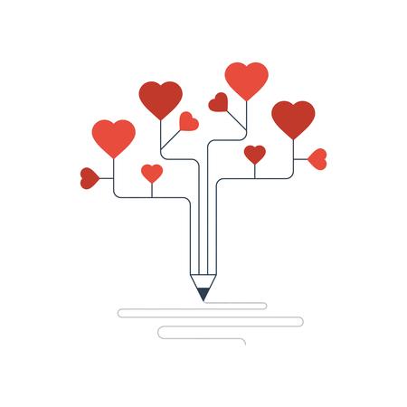 love letter: Escribir una carta de amor. Historia de amor. Confesión de amor. Vectores