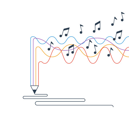 Music recording concept. Creative process of writing a song.