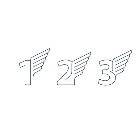 first grade: Elegant dynamic numbers with wings. Linear design. Can be used for any transportation service or in sports areas.