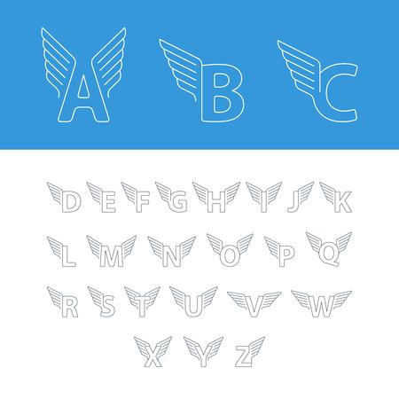 Elégant lettres de l'alphabet dynamiques avec des ailes. Conception linéaire. Peut être utilisé pour tout service de transport ou dans des zones sportives. Banque d'images - 53250547