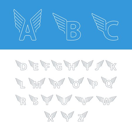 Elegant dynamic alphabet letters with wings. Linear design. Can be used for any transportation service or in sports areas. Illustration