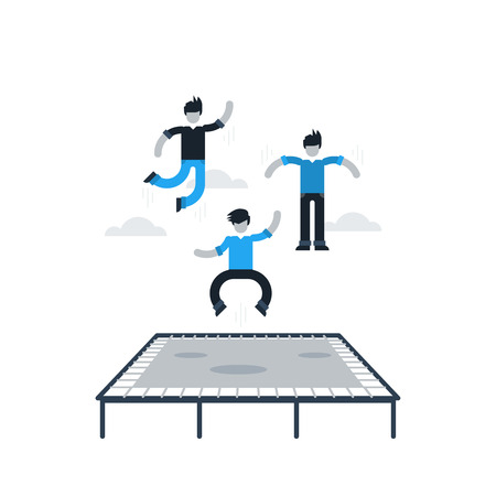 teenagers having fun: Bouncing on a trampoline