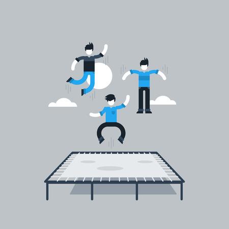 people having fun: Bouncing on a trampoline