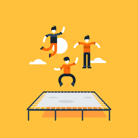 Bouncing on a trampoline Stock Vector - 53208940